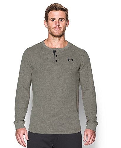 Under Armour Men's Waffle Henley, Carbon Heather (090), Large