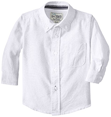 The Children's Place Baby Boys' Dress Shirt, White, 12-18 Months