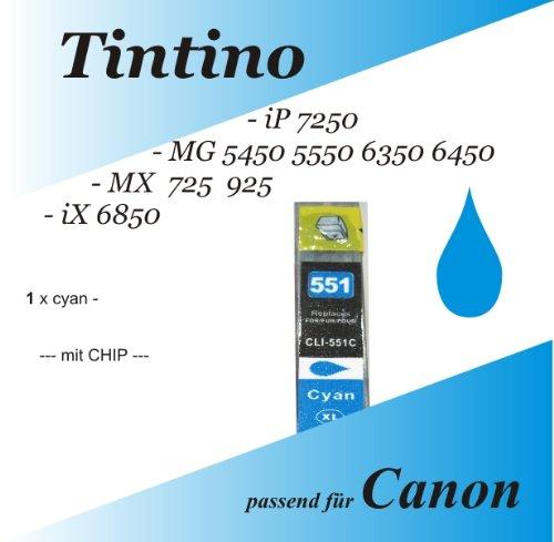 1 cyan kompatible iP 7250 MG 5450 5550 6350 6450 MX 725 925 iX 6850 - Canon Pixma kompatible Tintenpatronen Cli 551 XL 1 x c + Chip + Füllstandsanzeige