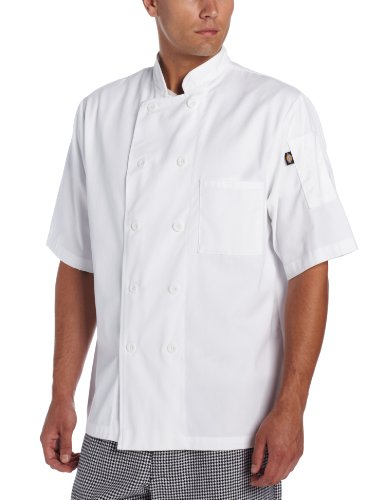 Dickies Men's Donatello Short Sleeve Classic Chef Coat, White, Large (Chef Jacket For Men Short Sleeves compare prices)