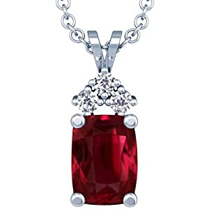 18K White Gold Cushion Cut Ruby And Round Diamond Pendant