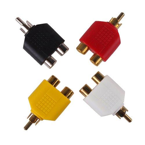 Ushoppingcart Rca Y Splitter Adapter 2Female To 1Male For Audio Video Av Tv Cable Convert (4Pcs)