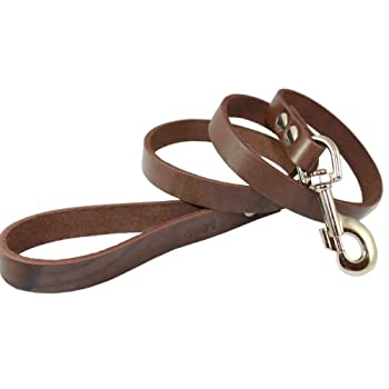 4' Real Leather Dog Leash Brown 3/4