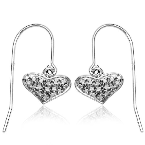 Sterling Silver Diamond Heart Wire Earrings