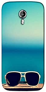 Snoogg Sun Sand n glasses Designer Protective Back Case Cover For Micromax A117