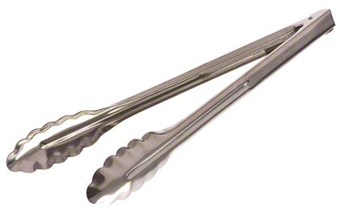 Update International ST-12XH/CS 18/0 Stainless Steel Extra Heavy-Duty Spring Tongs, 12-Inch