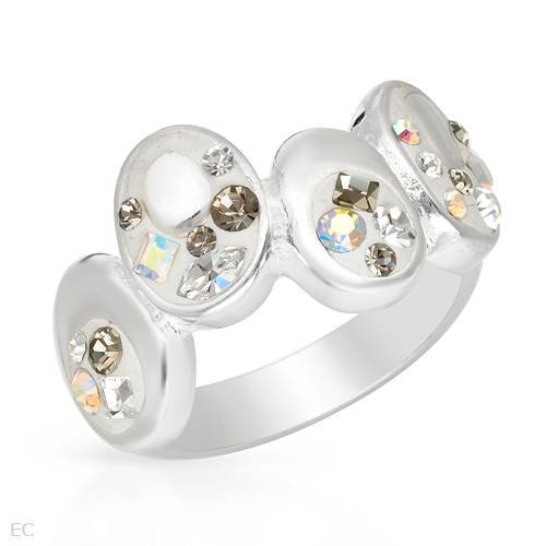 Ring With Genuine Crystals White Enamel and 925 Sterling silver. Total item weight 6.9g (Size 6)
