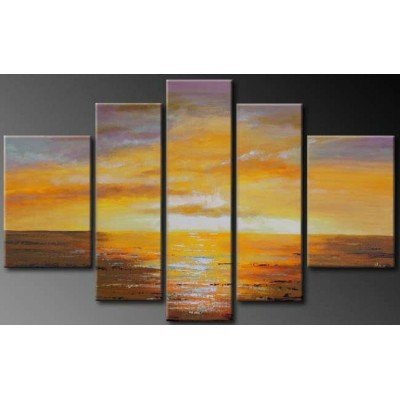 Sangu 100% Hand Painted 5-Piece Yelow Sky Sea For Landscape Oil Paintings Canvas Wall Art For Home Decoration