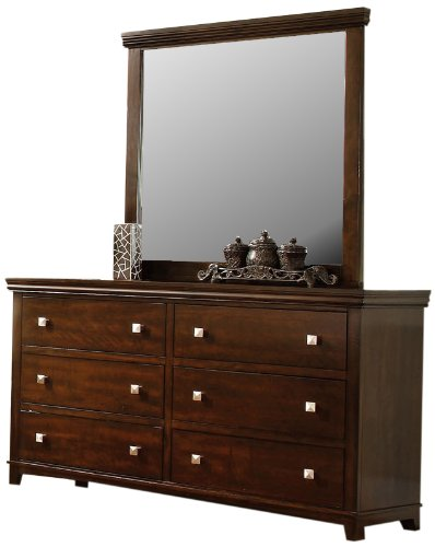Furniture Of America Pasha 2-Piece Dresser And Mirror Set, Brown Cherry Finish front-801361