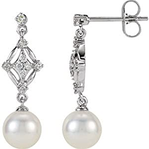 IceCarats Designer Jewelry 14K White 1/6 Ctw Diamond And Freshwater Cultured Pearl Earrings