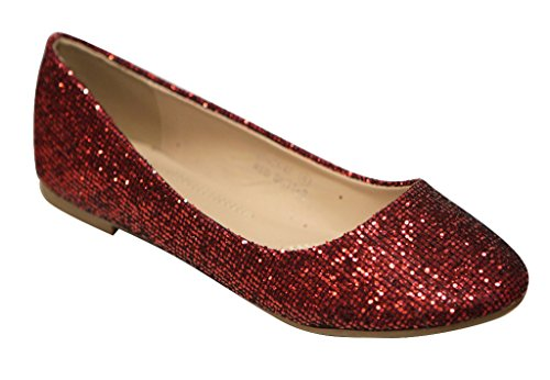 Bella Marie Stacy-47 Women's Dress Ballet Flat Slip On Comfortable Ballerina Synthetic Glitter Sparkle Shoes