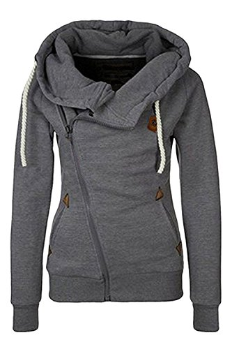 mittrap Women's Oblique Zip-up Zipper Fleece Slim Fit Hoodie Jacket GrayMedium (Canada Zip Up Hoodie compare prices)