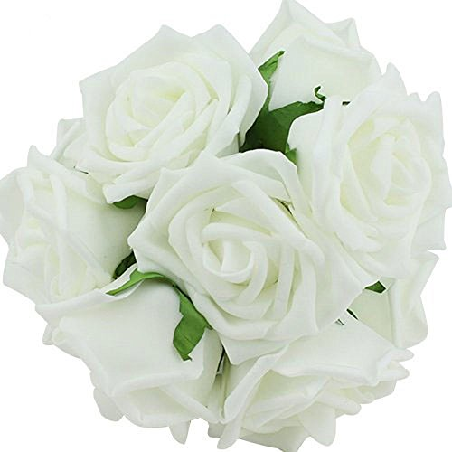 Leegoal 20pcs Latex Real Touch Flowers Bouquets Rose Bridal Wedding Bouquet KC1 White