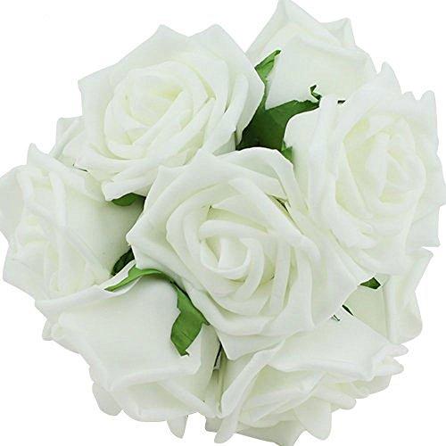 Leegoal 20pcs Latex Real Touch Flowers Bouquets Rose Bridal Wedding Bouquet KC1 White