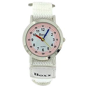 Boxx Kids Analogue Pale Pink & White Dial & White Velcro Strap Kids Watch