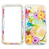 Apple iPhone 4 - 4S (AT&T/Verizon/Sprint) Colorful Flowers with Green Leaves on White iPhone 4 Hard Case/Cover/Faceplate/Snap On/Housing/Protector