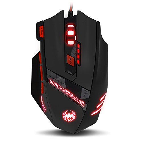 ECHTPower Mouse ottico USB Gaming Pro Gamer 9200DPI mouse da gioco 8 Pulsante LED cablato Gaming Mouse DPI regolabile