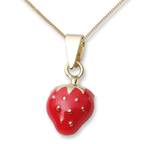 Children's Gold Necklace, 18ct Yellow Gold Strawberry Pendant, by Miore, MK011P of chain length 46 cm