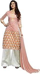 Begum Riwaaz Women's Georgette Unstitched Dress Material(1010, Orange)