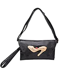 Omkar Shopy New Fashion Women's Ladies PU Clutch/Purse With Sling (Cross Body Bag) (Black)OS12500341