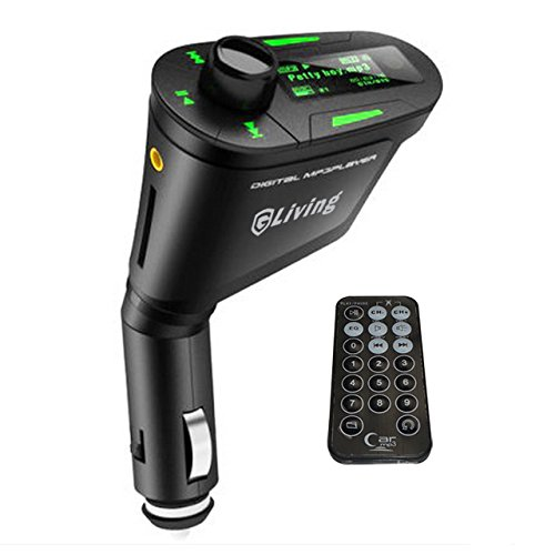 GLiving (TM) Car Kit MP3 Player 12-24V Multi-Function Audio Aux Wireless FM Transmitter Modulator Blue LCD Display with USB/SD/Card Reader MMC Slot and Remote Control,Laser Carving Translucent Keys,Support MP3 WMA Format (Green LCD Display)