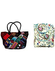 Indistar Combo Offer Women's Multicolor Cotton Handbag (Combo Pack Of 2) - B01IVWDM9E
