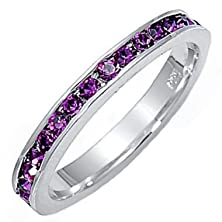buy Brooklyn: 0.96Ct Simulated Amethyst Ice Cz Stackable Eternity Band Ring 925 Silver, 3291A Sz 8.0