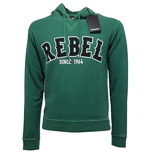 4910Q felpa uomo DSQUARED D2 cotone verde sweatshirt men [S]