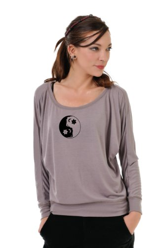 3 Elfen Longsleeve Shirt Viscose Strapless Brown Yin Yang Fairyt Black, S