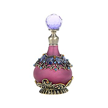 H&D 25ml Purple Vintage Refillable Crystal Decor Perfume Bottle