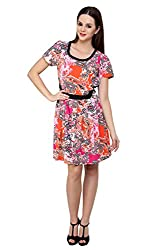 Shilpkala Women's Paisely Print Orange Poly Crepe Flare Dress( Size-Small)
