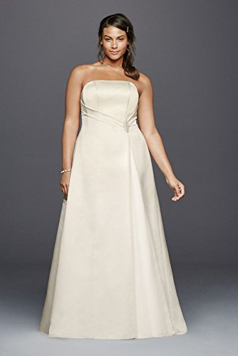 Beaded Satin Plus Size Wedding Dress with Brooch Style 9OP1257, Ivory, 24W