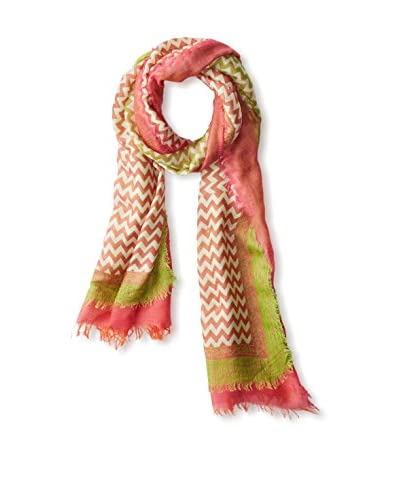 Saachi Women's Zig Zag Double Fringe Scarf, Lime Pink As You See