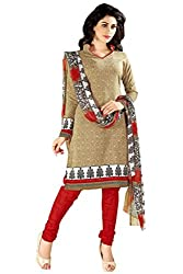 Fashions World Fancy Beige Cotton Dress Material
