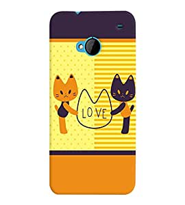 Fuson Premium Kitty Love Printed Hard Plastic Back Case Cover for HTC One M7