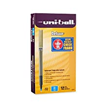 uni-ball Deluxe Micro Point Roller Ball Pens, 12 Blue Ink Pens (60027)
