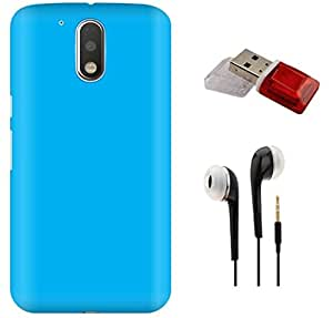 Tidel Ultra Thin and Stylish Rubberized Back Cover for Moto G Play 4th Gen (Motorola Moto G4 Play) With 3.5mm Handsfree Earphone & Data Card Readar