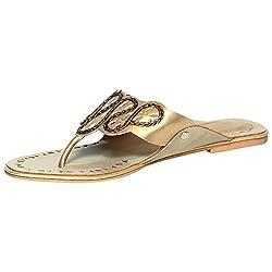 Craze Shop Womens Gold Artificial Leather Flat - 8.5 UK