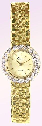 Geneve 14K Gold Diamond Womens Watch - W2148