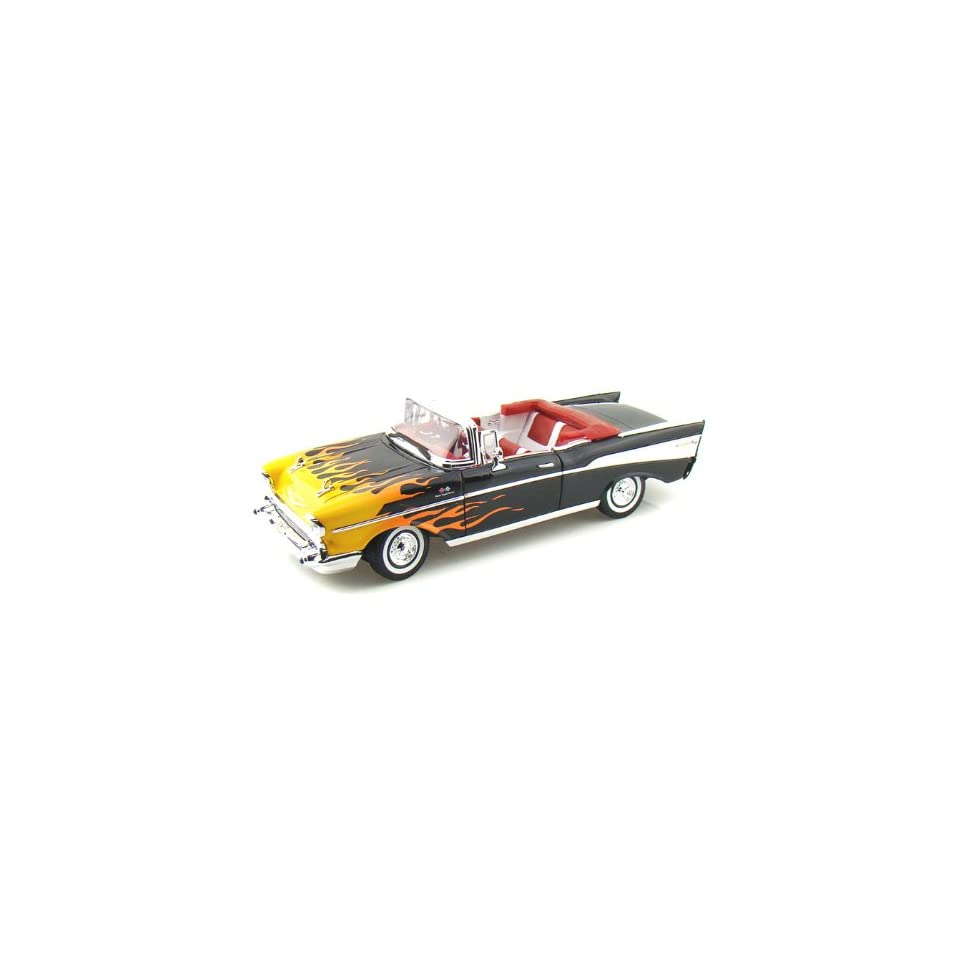 1957 Chevy Bel Air Convertible 1/18 Black w/Flames