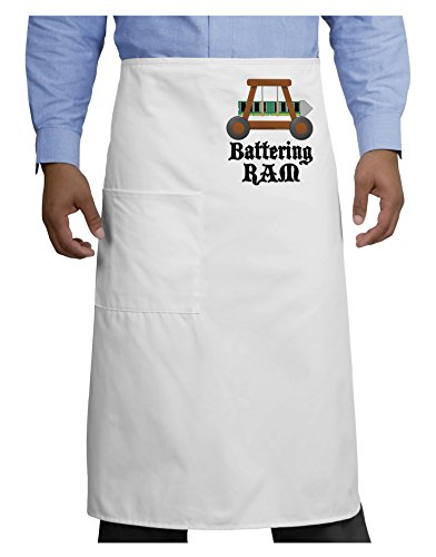 TooLoud Battering RAM Text Adult Bistro Apron - White - One-Size