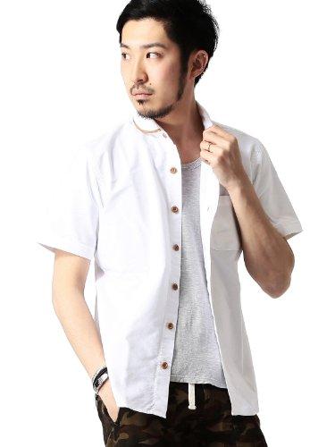 (ビームス) BEAMS / レザー パイピング ショールカラー 半袖シャツ 11010264803  ホワイト L