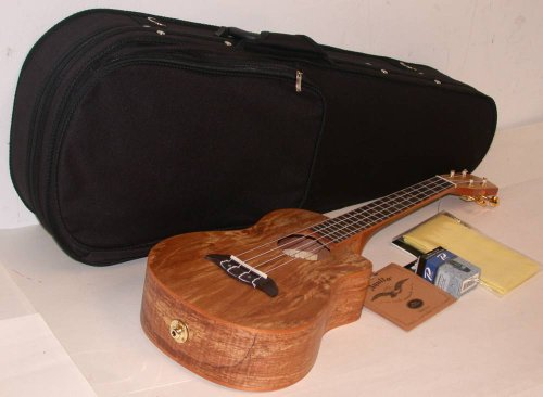 Oscar Schmidt Ou8Tlce Acoustic/Electric Tenor Ukulele, Spalted Maple Top, Back And Sides, Satin Finish, Includes Tms Polishing Cloth, Polyfoam Soft Sided Case, Profile Digital Clip-On Tuner & Extra Set Of Aquila 10U Nylgut Strings