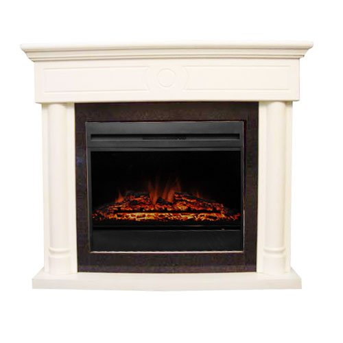 [Clearance] Damay 120V/60Hz 700W/1400W White Electric Fireplaces Steel & Mdf Mantel W/Real-Flame Effect, Coming With Remote Control