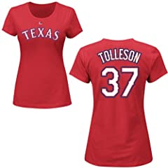 Shawn Tolleson Texas Rangers Red Ladies Player T-Shirt by Majestic by Majestic