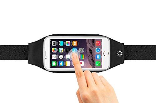 """Marsupio. Cintura sportiva per correre e fare attività all'aria aperta. Marsupio cintura impermeabile, elastico e regolabile per i telefoni cellulari fino a 5""""5 (iPhone 6S, iPhone 6S plus, Samsung S5/S6, Note 4...) Running bag. Nero"""