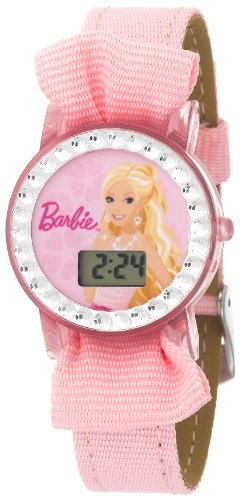 Kids' 3500009B Character Barbie Crystal Accented Pink Strap Digital Watch