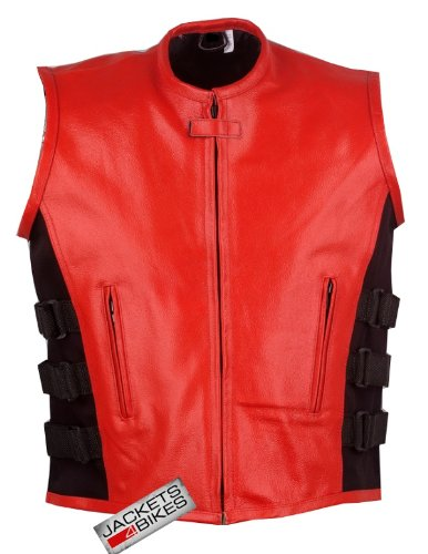 NEW MOTORCYCLE LEATHER VEST STYLISH ADJUSTABLE