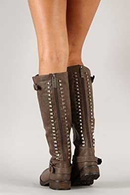 Breckelle Trooper-14 Studded Buckle Riding Knee High Combat Boot Taupe (5.5, brown)