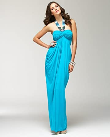 bebe Embellished Halter Maxi Dress